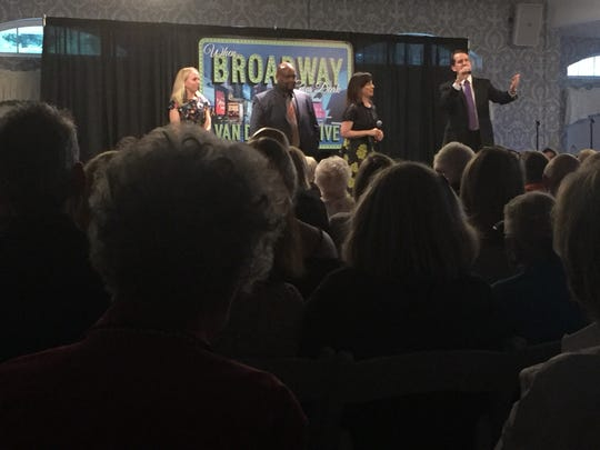 The Broadway stars performed three songs as a quartet at the concert.