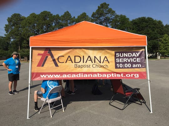 Acadiana Baptist Church members are helping with prayer tents in Lafayette this week.
