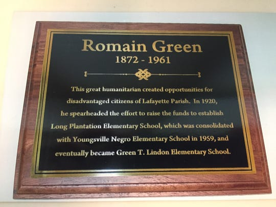 This plaque is now displayed at the entrance of Green