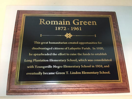 This plaque is now displayed at the entrance of Green T. Lindon Elementary.