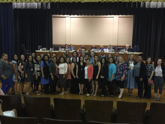 The Vineland school board honored the staff of the