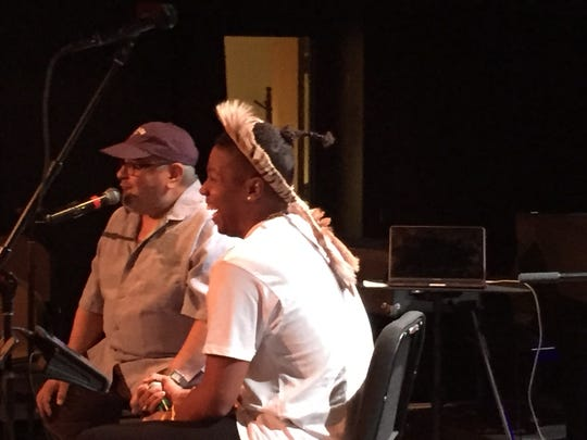 """Christian Scott laughs during his Burlington Discover Jazz Festival """"Meet the Artist"""" session with fellow trumpeter Ray Vega at FlynnSpace on June 3, 2018."""