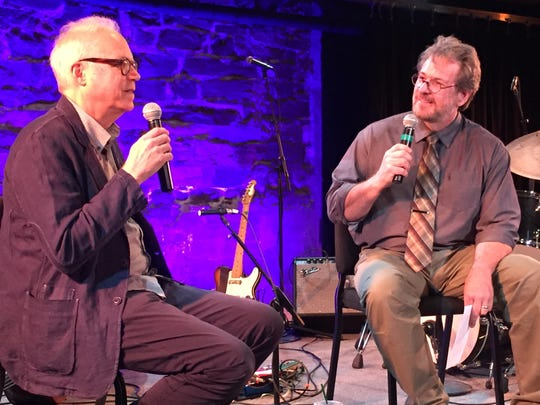 """Bill Frisell, left, talks with William Ellis, professor in the music department at St. Michael's College, during a """"Meet the Artist"""" session in FlynnSpace as part of the Burlington Discover Jazz Festival on June 7, 2018."""