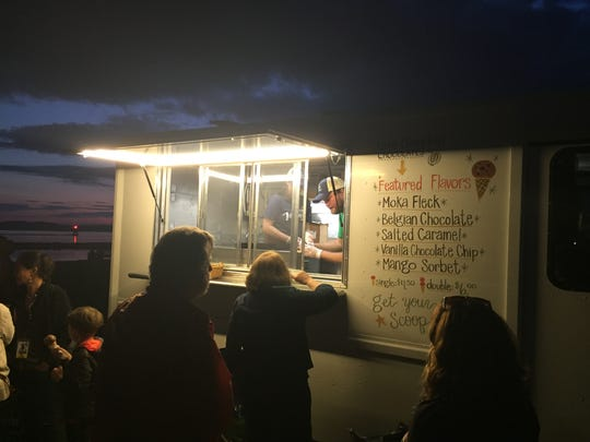 The Lake Champlain Chocolates ice-cream truck offered five flavors at its debut last week during the Burlington Discover Jazz Festival.