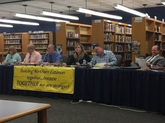 From left, Northern Lebanon School District board secretary Pat Martin, Director of Special Service Edward Skoczen, President Glen Gray, Vice President Amy Sell, board member John Brewer and solicitor Howard Kelin at a June 12, 2018 board meeting.