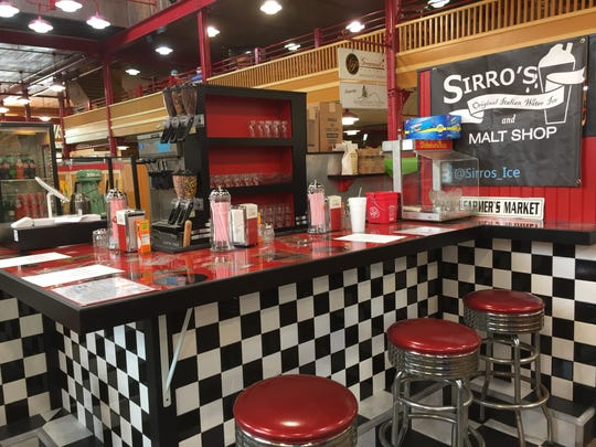 Sirro's Original Italian Water Ice and Malt Shop inside the Lebanon Farmers Market was resembles a 50s ice cream parlor.
