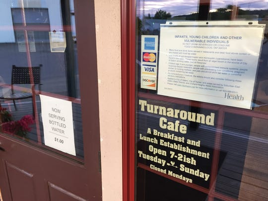 The Turnaround Cafe in Turner is selling bottled drinking water along with its regular menu.
