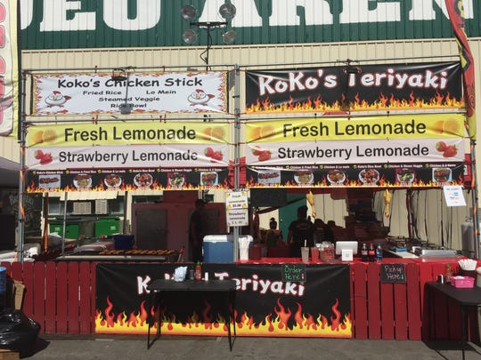 Koko's booth offers teriyaki chicken salad, brawny chicken skewers, chicken lo mein and more at the Reno Rodeo food court.