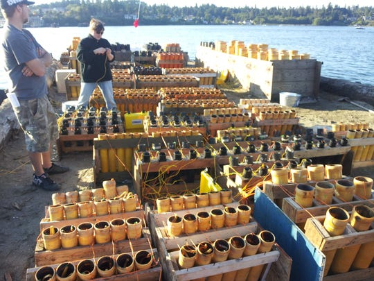 A view of the fireworks barge in Eagle Harbor from 2012.
