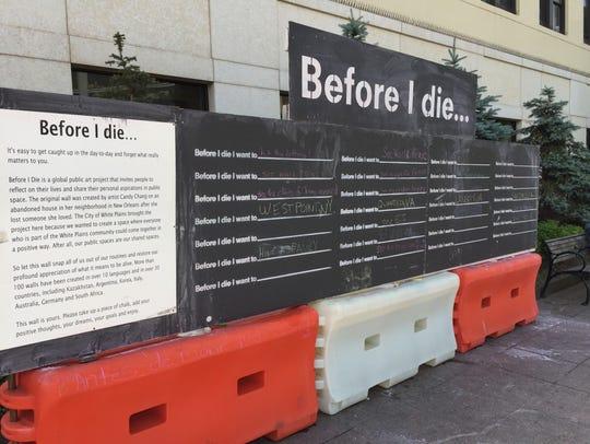 'Before I die...' interactive art exhibit in White