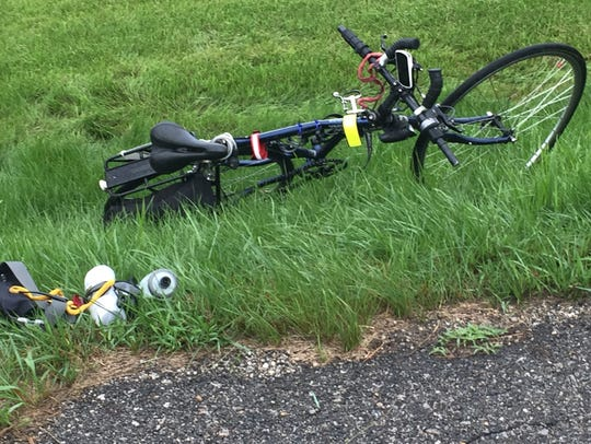 This is the bicycle Great Ohio Bicycle Adventure rider Oliver Seikel, 80, was riding when he was struck and killed by a pickup track at Ohio 158 and Carroll Eastern Road Friday morning. The Ohio Highway Patrol said Seikel did not stop at the intersection.