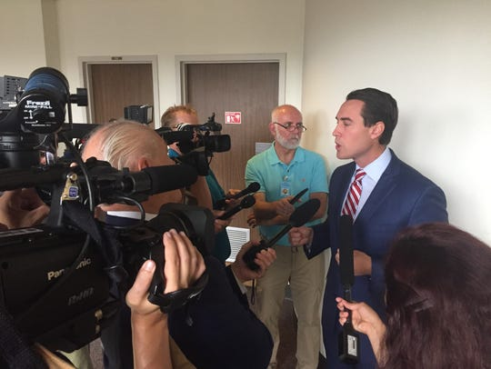Chris King meets the press after making his campaign
