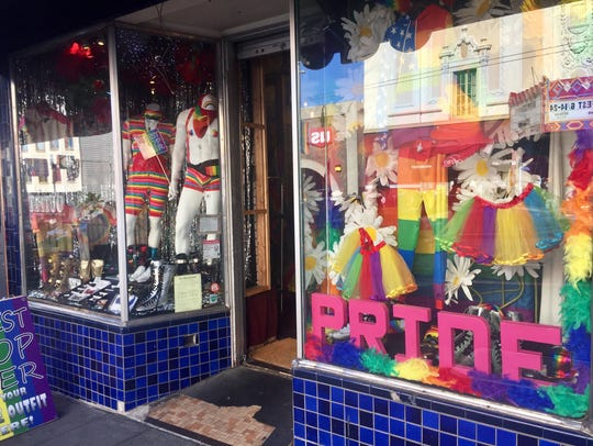 Items available for sale at a store in San Francisco's historic Castro district for those attending the city's gay pride celebrations over the weekend of June 23-24, 2018.