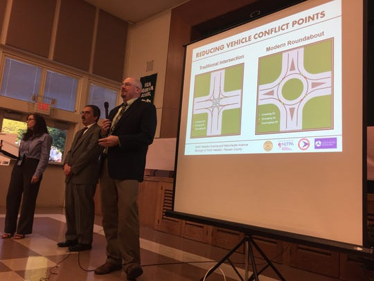 A team of engineers presented the plan for the roundabout at a public hearing on June 25. They included Christine Mittman, project manager for North Jersey Transportation Planning Authority; Charles Silverstein, traffic engineer for Passaic County; and engineering consultant William McGarrigel.
