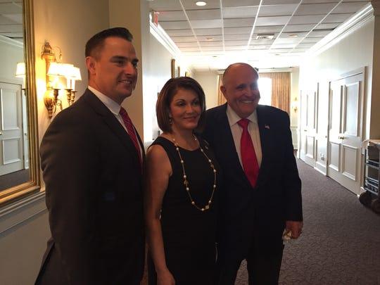 Josh Guillory, Jennifer LeBlanc and Rudy Giuliani at the Petroleum Club in Lafayette, La. on June 25, 2018.