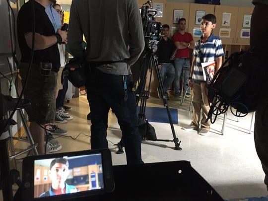 "Eric Ronen, 11, plays the title character in ""Arthur Futuro,"" a TV tween pilot being shot in Cedar Grove's Memorial Middle School."