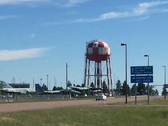The water tower in Great Falls immediately south of the Great Falls International Airport.
