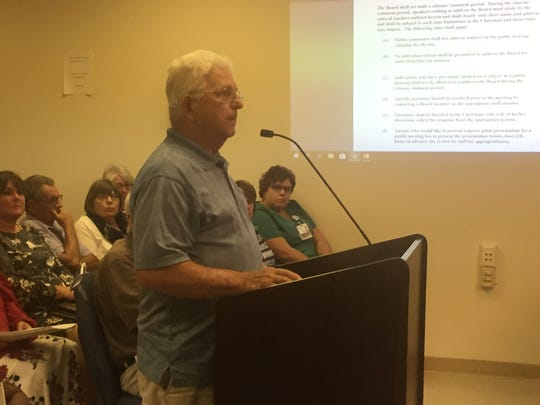 Harry Hill  of the Hunting Creek area near Parksley, Virginia addresses the Accomack County Board of Supervisors on Wednesday, June 20, 2018 in Accomac, Virginia.