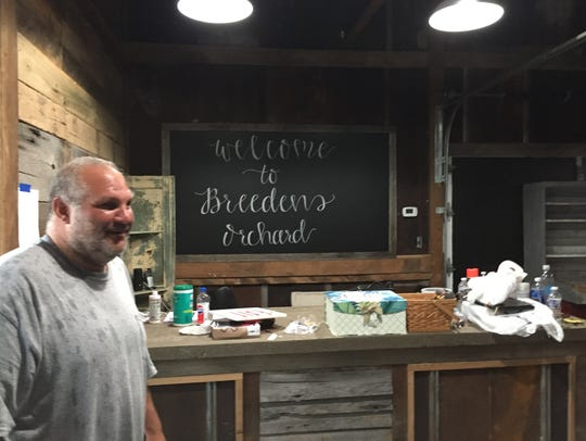 Andrew Dorfman at the country store at Breeden's Orchard