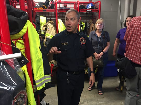 Lt. John Cordle of the Violet Township Fire Department leads a tour of the Station 591 at 21 Lockville Road in Pickerington Friday.
