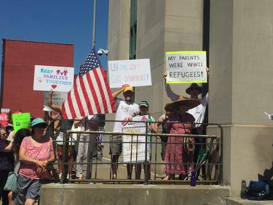 Nearly 200 protestors gathered Saturday outside Binghamton's