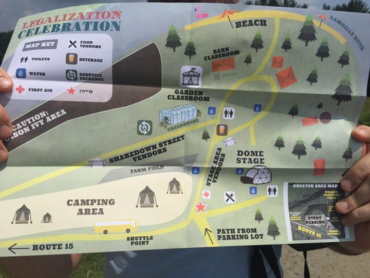 A map of the Legalization Celebration hosted by Heady
