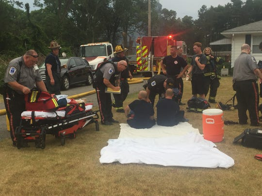Heat exhaustion was concern for firefighters at salvage yard fire July 4, 2018 at West Chestnut Avenue salvage yard.