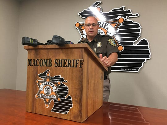 Macomb County Sheriff Anthony Wickersham speaks July 5, 2018 about a homicide in Mt. Clemens.