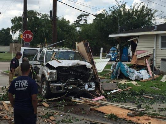 A stolen car driven by a juvenile crashed into a house