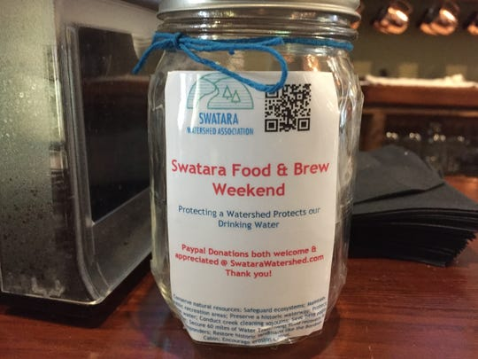 Donation jars to support the Swatara Watershed Association will be placed at some the 17 participating locations, like this one at Snitz Creek Brewery in Lebanon.
