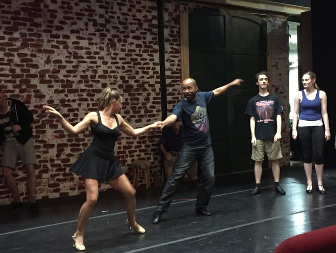 Actors rehearse a dance number, 'Too Darn Hot,' for