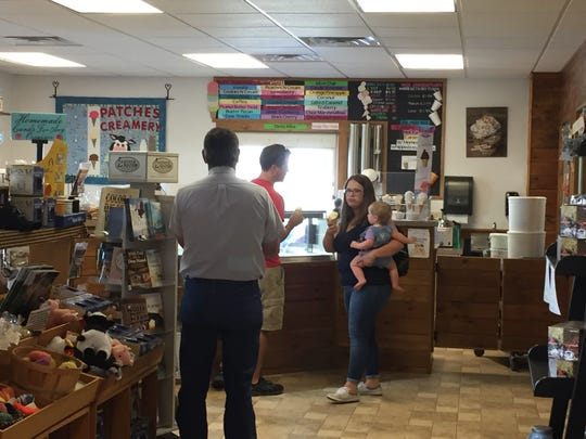 Customers line up inside Patches Family Creamery on Friday morning after the Lebanon dairy farm is announced as a stop on the Pennsylvania Ice Cream Trail.