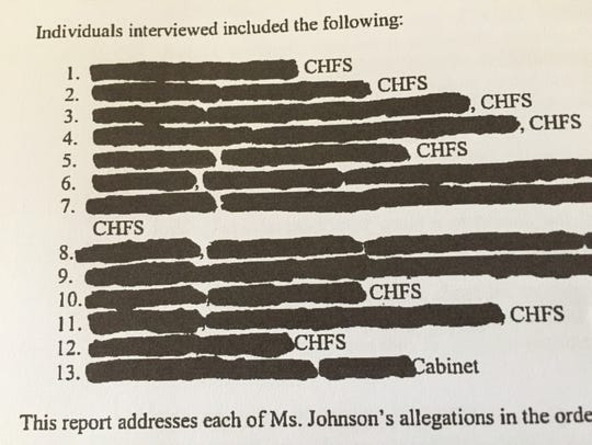 The heavily redacted document from the Cabinet for Health and Family Services.