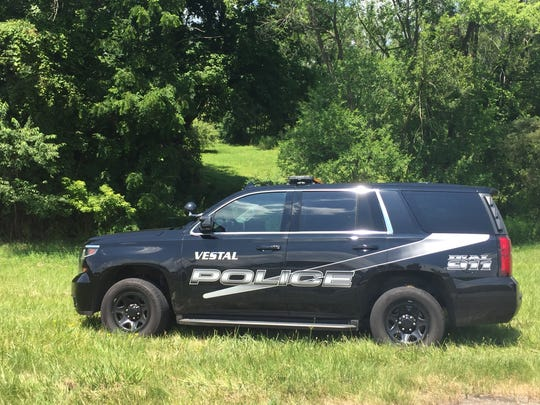 A Vestal police vehicle parked off the ramp from Route 26 to Route 17 West Monday, July 16, 2018.