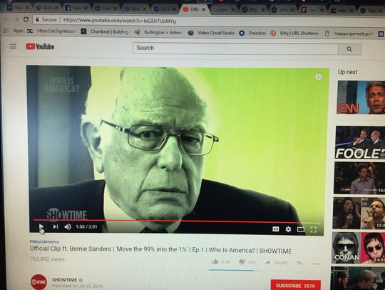 This screen shot shows Sen. Bernie Sanders, I-Vt.,