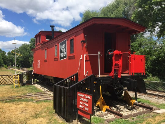 A restored 1888 Grand Trunk Western Railroad caboose,