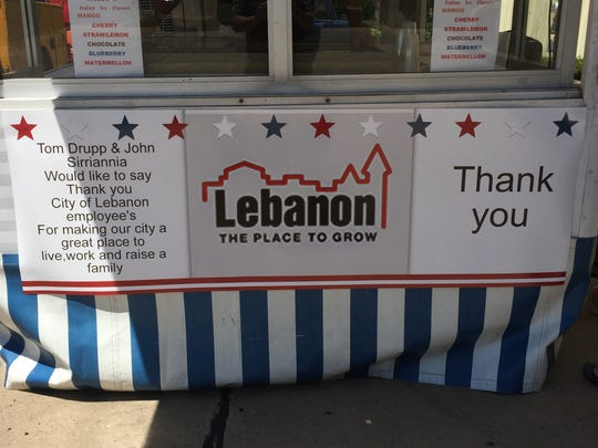 "A banner with a ""Thank you"" message to Lebanon city employees hangs outside Sirro's Italian Ice & Concessions at the city garage."