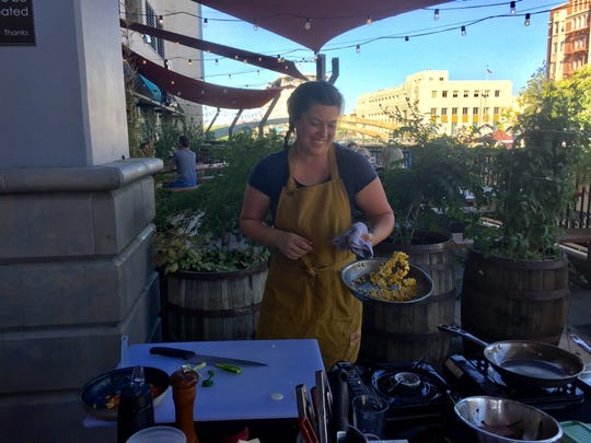 Jessica Marrufo-Shapiro of The Cheese Board, the runner-up in the 2018 Chefs Al Fresco Artown cook-off, returns to the 2019 contest in round one on July 15, 2019, on the terrace of Campo Reno.
