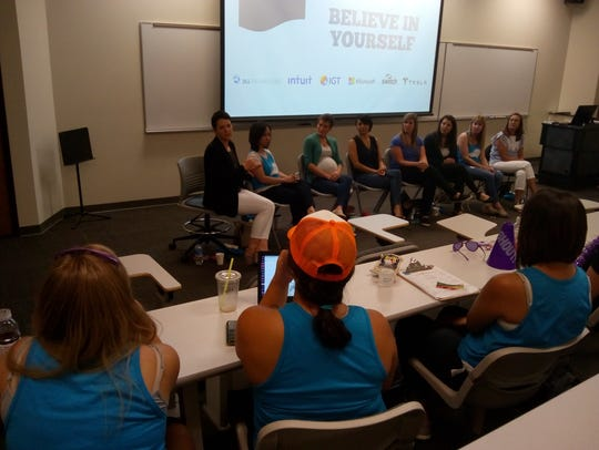 Workshop with women in tech industry at DigiGirlz- a tech camp for young women (July 19-20) to encourage them in STEAM (Science Technology Engineering Arts Mathematics). Reno NV
