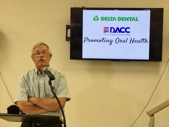 Delta Dental Board Member and long-time Las Cruces dentist, Ralph McElmurry spoke during a press conference at Doña Ana Community College Tuesday.