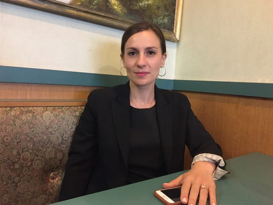 Alessandra Biaggi, who's running in a Democratic Party primary for the New York State Senate's 34th District, pictured Aug. 1, 2018 at Rainbow Diner in the Bronx, New York.