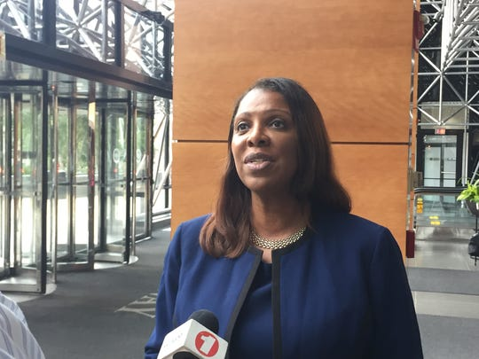 Tish James, Democratic candidate for New York State attorney general, speaks with reporters at the Gateway Building in White Plains, Aug, 2, 2018.