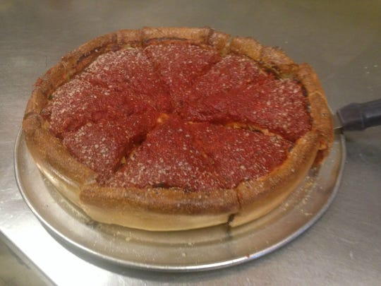 A medium Chicago-style pizza from Bourbon House Pizza in florence