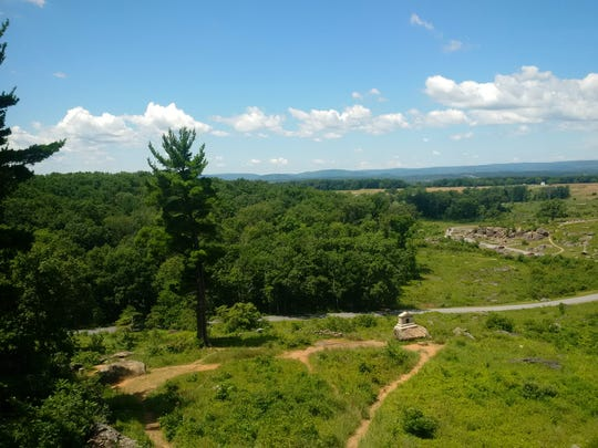 The view from Little Round Top, a key spot on the three-day Gettysburg battle in July 1863, as shown in July 2016.