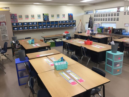 A refurbished classroom is seen at Westside Elementary