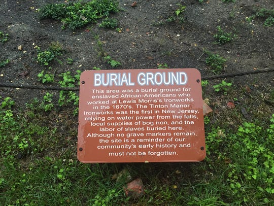 A placard marks a burial ground for enslaved African-Americans