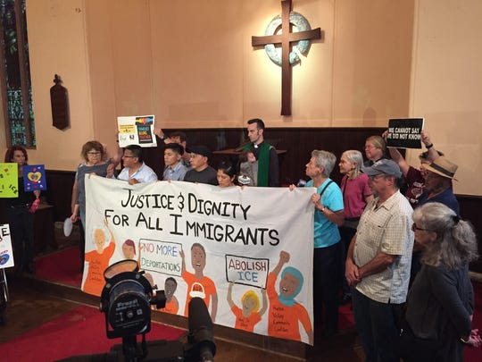 Supporters of the Guambana family gathered at the South Presbyterian Church in Ossining in Dobbs Ferry on Wednesday.
