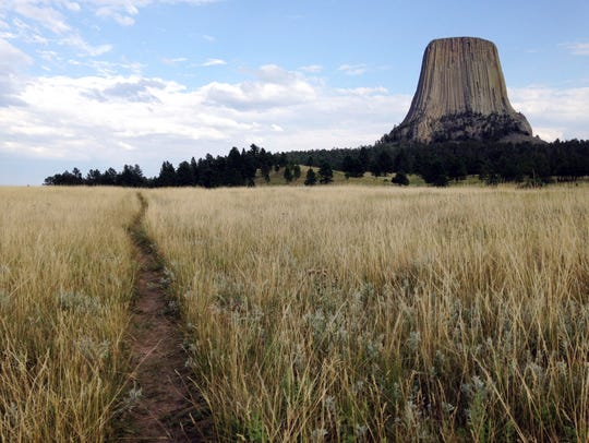This July 29, 2017 photo shows Devils Tower in northeastern