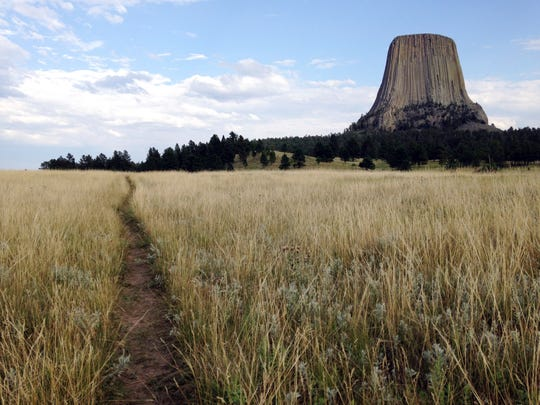"This July 29, 2017 photo shows Devils Tower in northeastern Wyoming. Just like in the science-fiction movie ""Close Encounters of the Third Kind,"" UFO enthusiasts headed to the strange geological formation in Wyoming in 2017. Experts on UFOs spoke at the Devils Tower UFO Rendezvous in September. Devils Tower played a key role in the well-known UFO film that came out 40 years ago."
