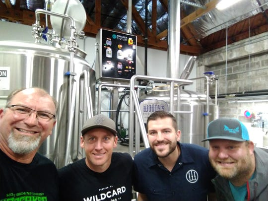 Fall River, Wildcard and Woody's in Redding have teamed up to brew Resilience IPA to help Camp Fire victims. Pictured, left to right, is Woody's co-owner Scott Wlodarczyk, Wildcard co-owner Jeff Hansen, Woody's co-owner Andrew Wlodarczyk, and Fall River co-owner John Hutchings.